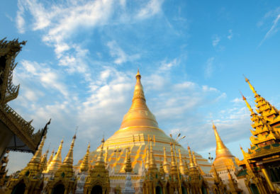This image shows the Shwedagon Pagoda in Yangon, Myanmar (Burma)