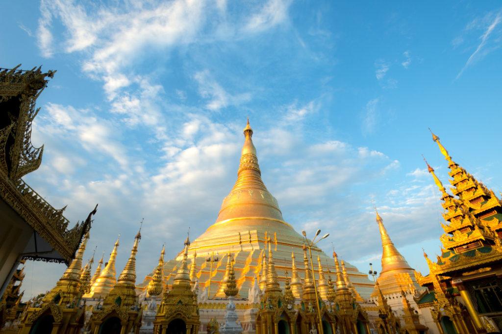 This image shows the Shwedagon Pagoda in Yangon, Myanmar (Burma)